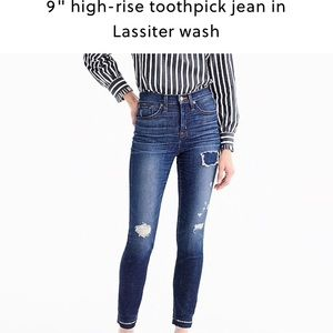 """J.Crew lookout high rise 9"""" toothpick Lassiter"""